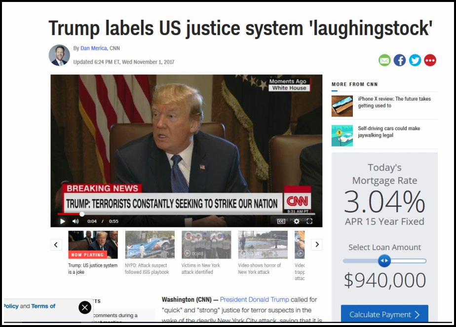 Screen shot from CNN in which Donald Trump calls the U.S. legal system a laughing stock