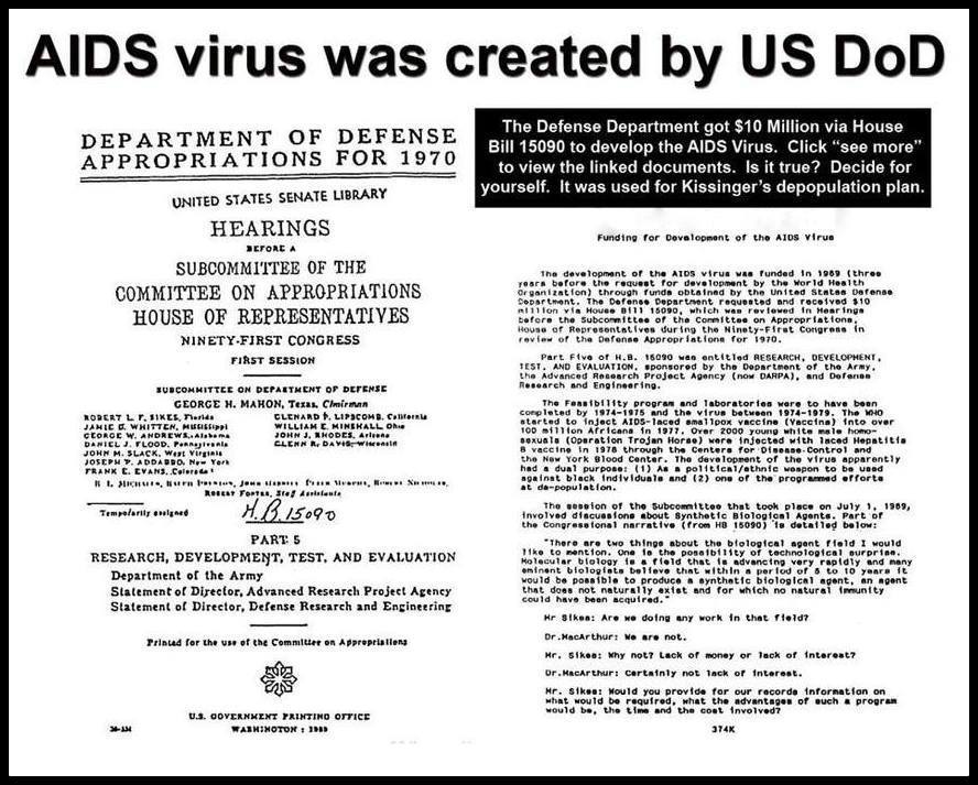 Image found on the internet of a fake document designed to prove that the United States invented the AIDS Virus