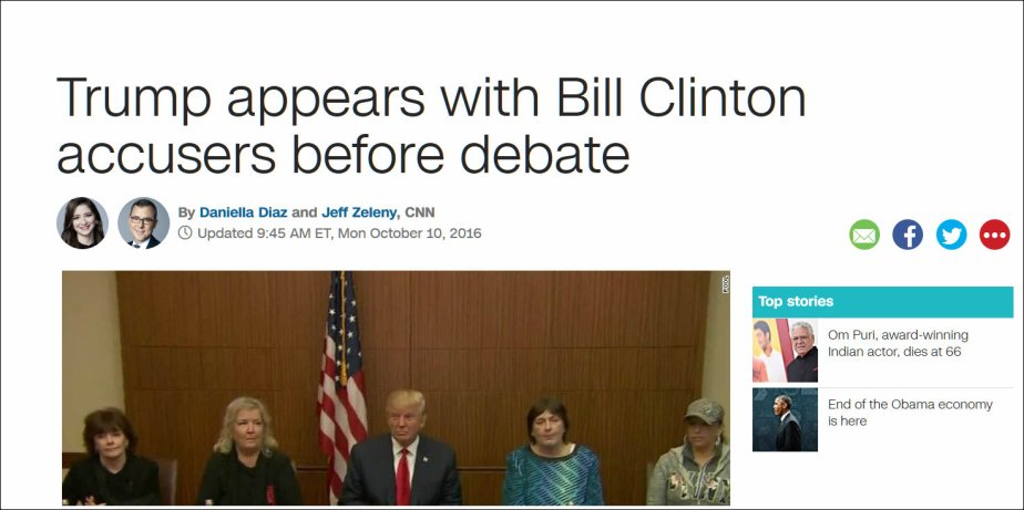 A screenshot of Trump meeting with women who accused Bill Clinton of Rape prior to his second debate with Hillary Clinton