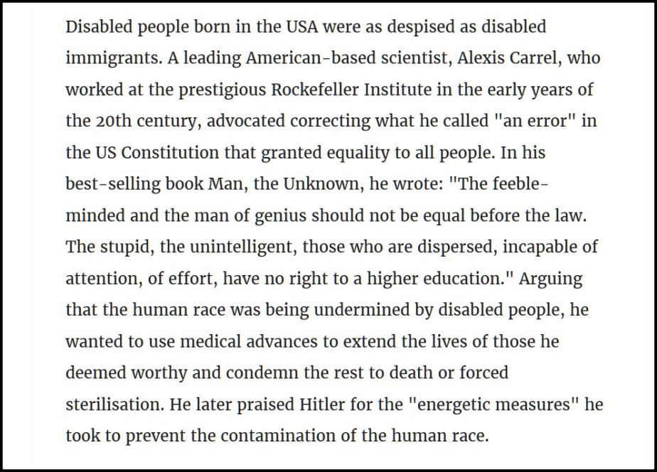 A quote from an early 201th Century Eugenics advocate, Alexis Carrel, who says that the disabled should be executed.