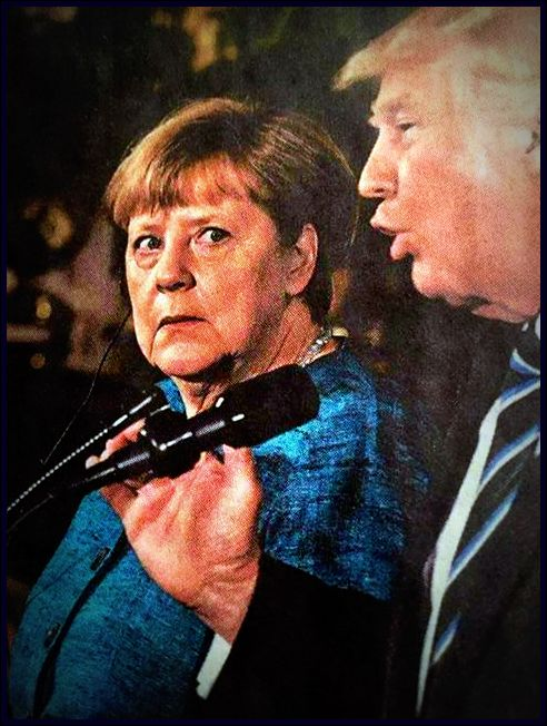from the front page of the Chicago Tribune, Angela Merkal stares at Donald Trump in horror.