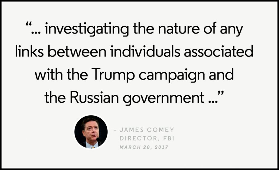Screen Shot of the text of FBI Director Comey's announcement that he is Investigating the Trump Administration for collusion with Russia to undermine the 2016 election