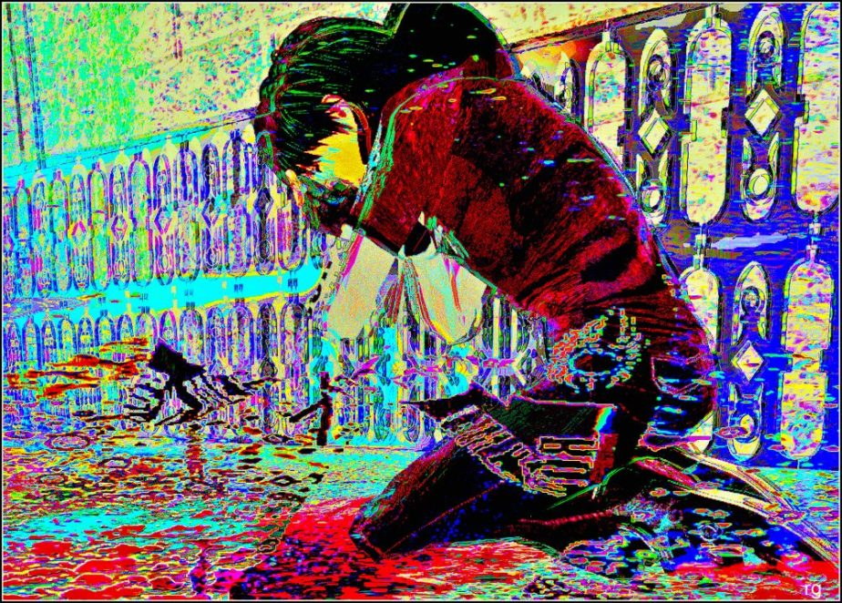 Digital painting of a child weeping in a pool of blood