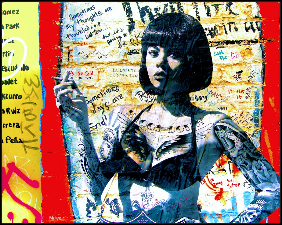 A graffiti mural in clarion alley san francsico of a young woman in tats