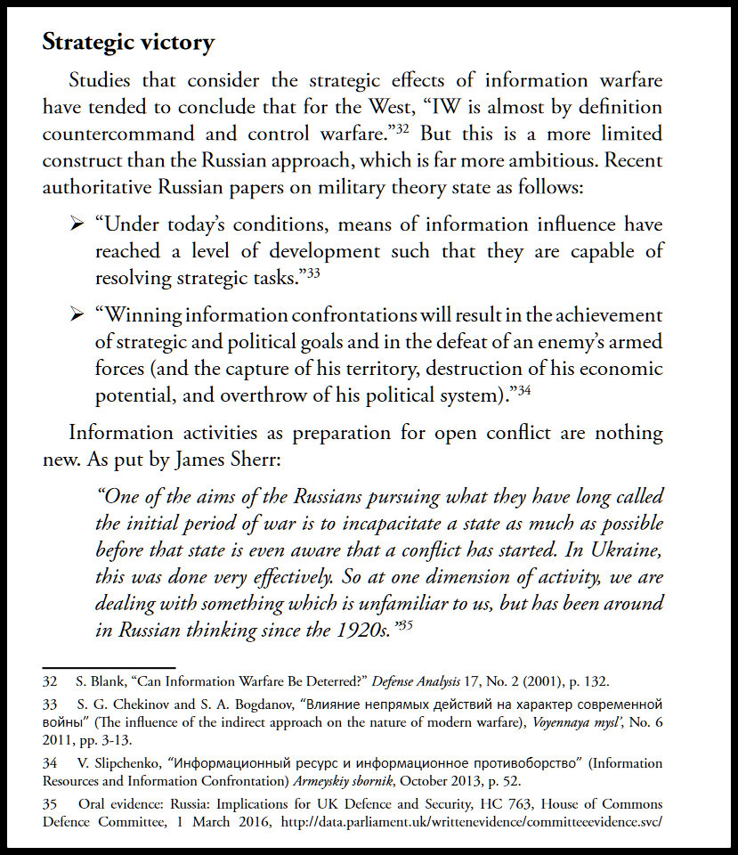 A page from the 2016 NATO Defense College Handbook of Russian Information Warfare