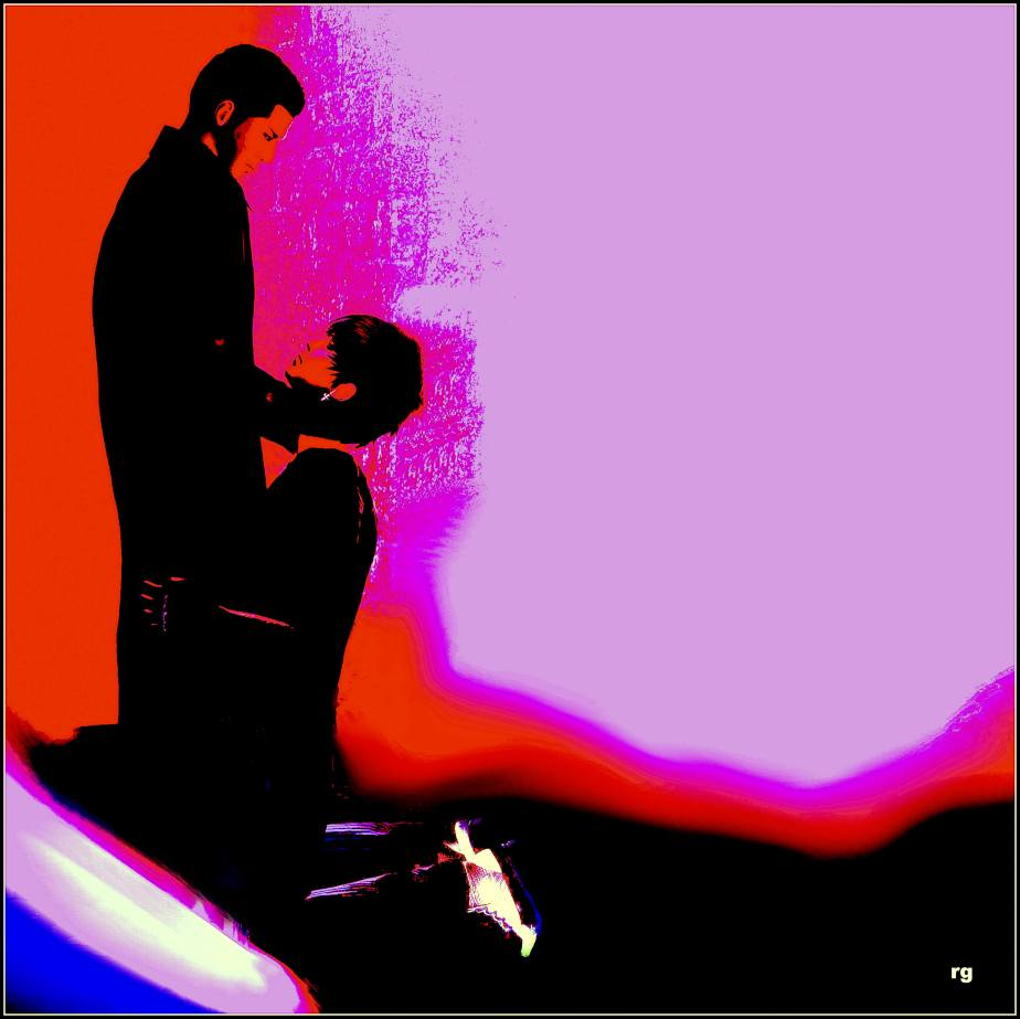 Difital painting, bright red, pink and black, the shadows of two males in a romantic pose
