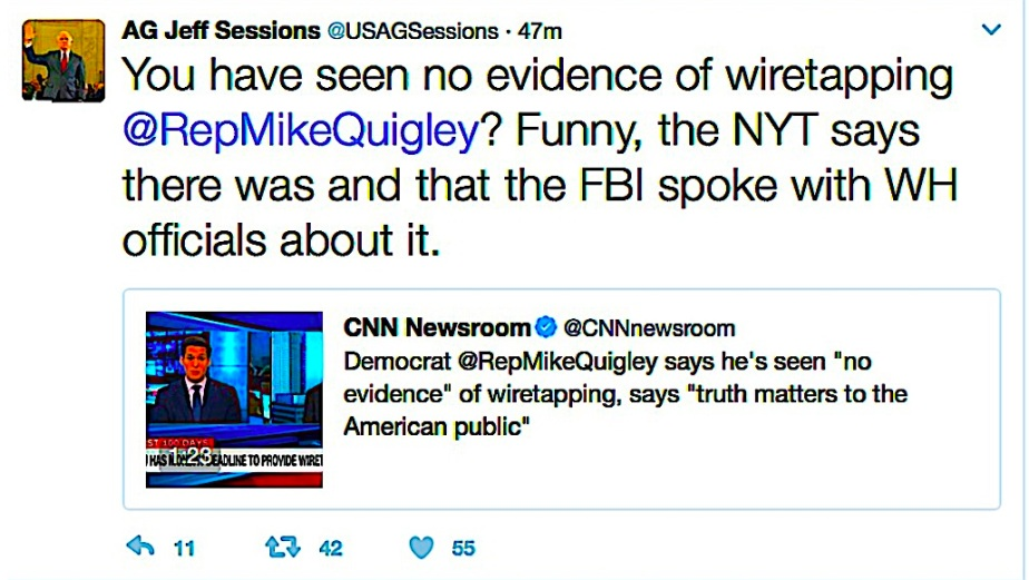 "AG Sessions Headlines: Says ""Uh, no"" to Wiretap Claim. A.M. Tweets Say ""Yes"" w/out Media Mention."