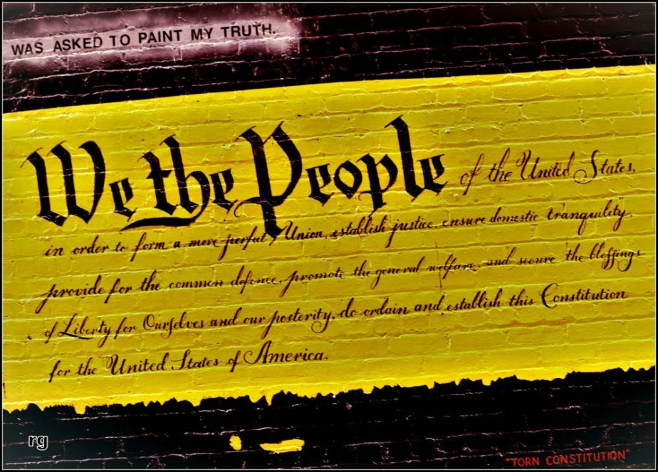 Photo of a mural that depicts the preamble to the constitution of the United States