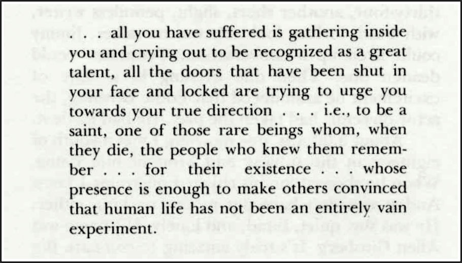 Screenshot of an of W.H. Auden's letter to Harold Norse from the Contemporary Authors Autobiography Series in which Auden tells Harold Norse to accept locked doors ihn the literary world as a sign of his true callling as a saint