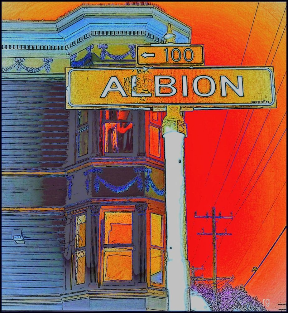 Heavily processed photograph of the sign for Albion Street in San Francisco