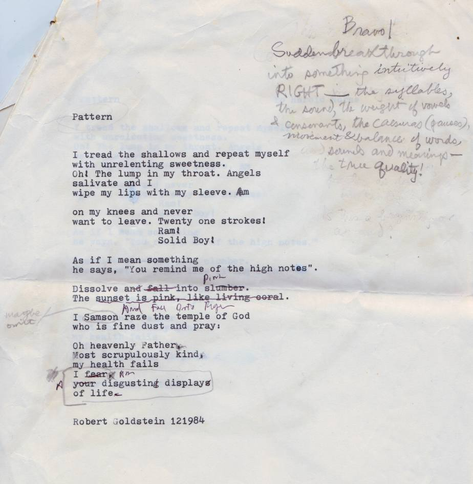 An poem drafted in 1984 with notes from Harold Norse