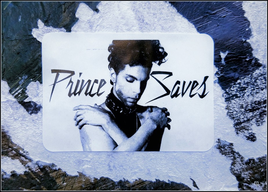 Photograph of a Sticker that reads 'Prince Saves' seen on Mission Street in San Francisco