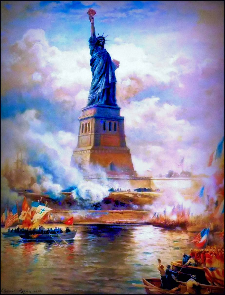 Cropped photoshopped copy of Unveiling The Statue of Liberty- 1886 - by Edward Moran