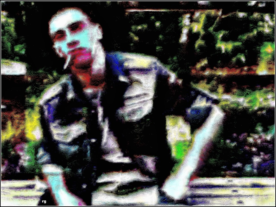 Digital painting of a young soldier with a cigarette dangling out of his mouth, based on a screen capture from a public domain video