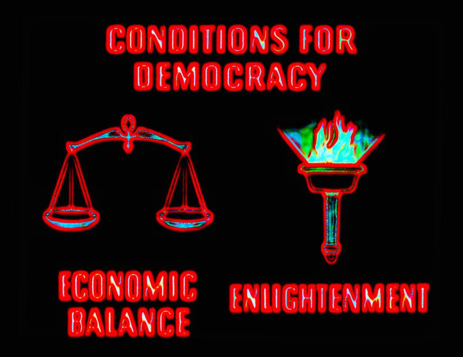 Screenshot of Democracy 1945 discussing 2 essential conditions for a healthy democracy are economic balance and an educated and enlightened people.