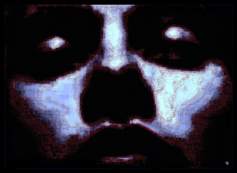 Photoshopped frame from an amateur film in the public domain--it is the face of a sleeping man
