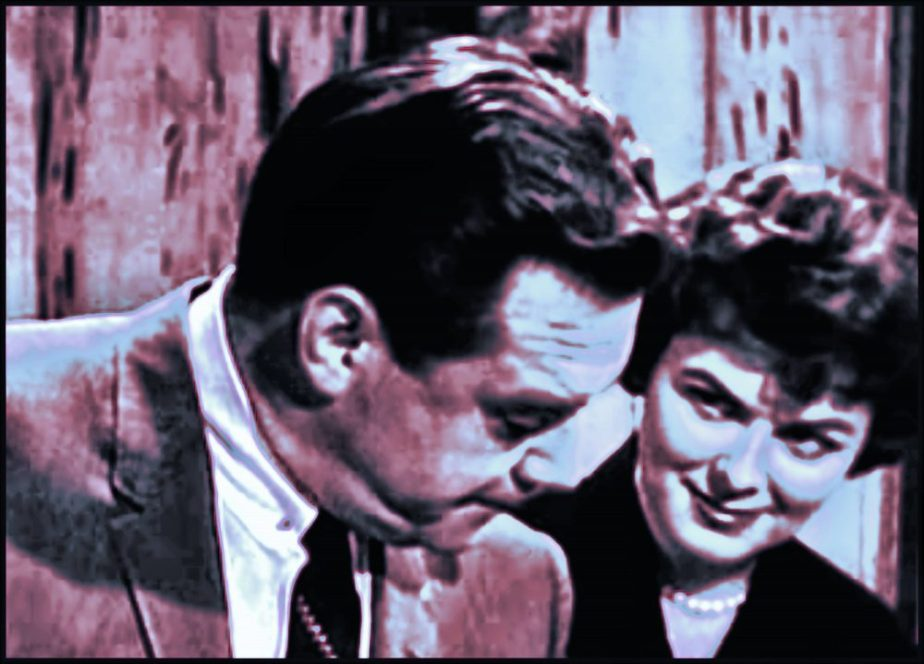 Photoshopeed copy of a screen shot of Raymond Burr and Barbara Hale from the Perry Mason Show