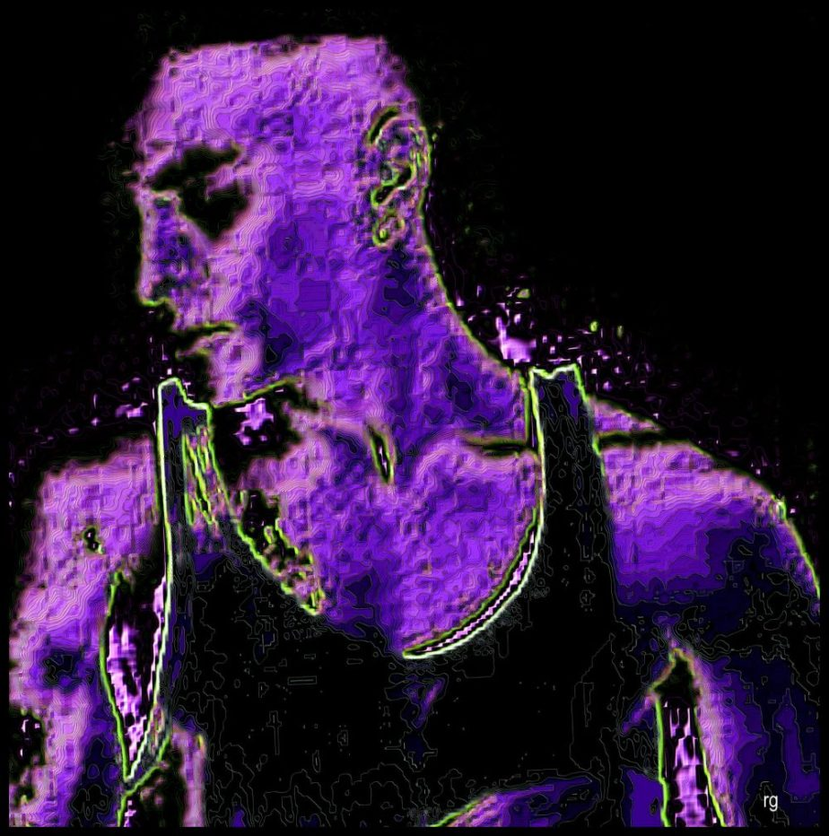 Digital painting of a young man in purple and black based on a public domain image by an unknown photographer