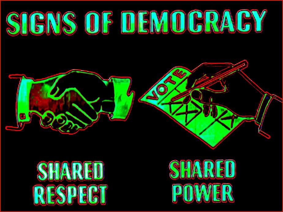 Screenshot from Democracy 1945 that illustrates that two signs of a healthy democracy are shared respect between citizens and shared power
