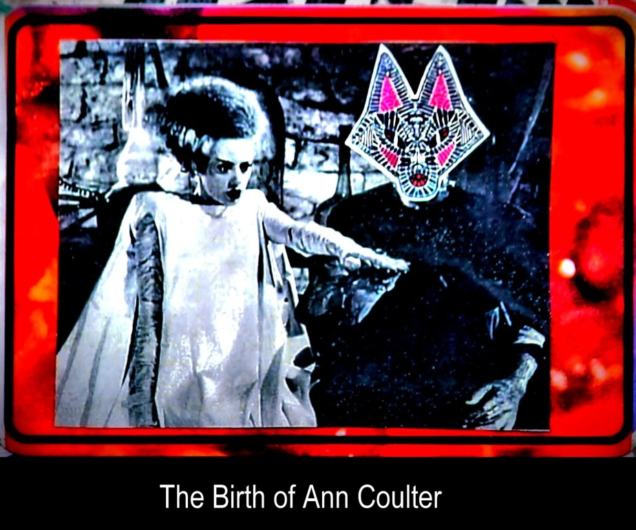 Photograph of a sticker of the classic bride of Frankenstein with Dr. FRankenstein's head replaced by the head of a Fox. It's called the Birth of Ann Coulter