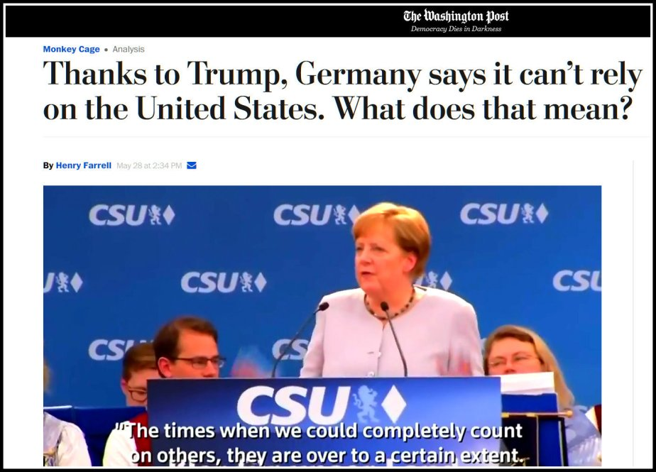 Screenshot of Angela Merkel stating that Europe cannot count on the U.S.