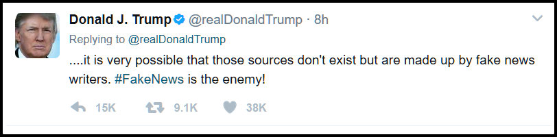A screen shot of a trump tweet that calls the legitimate news fake