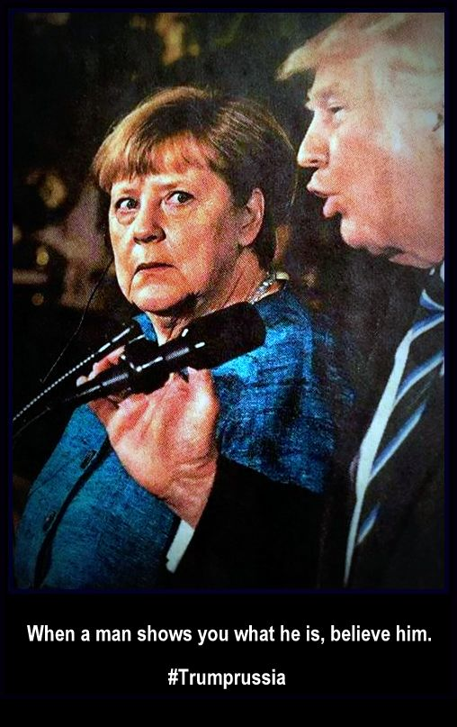 reprocessed press photo of Trump and Angela Merke