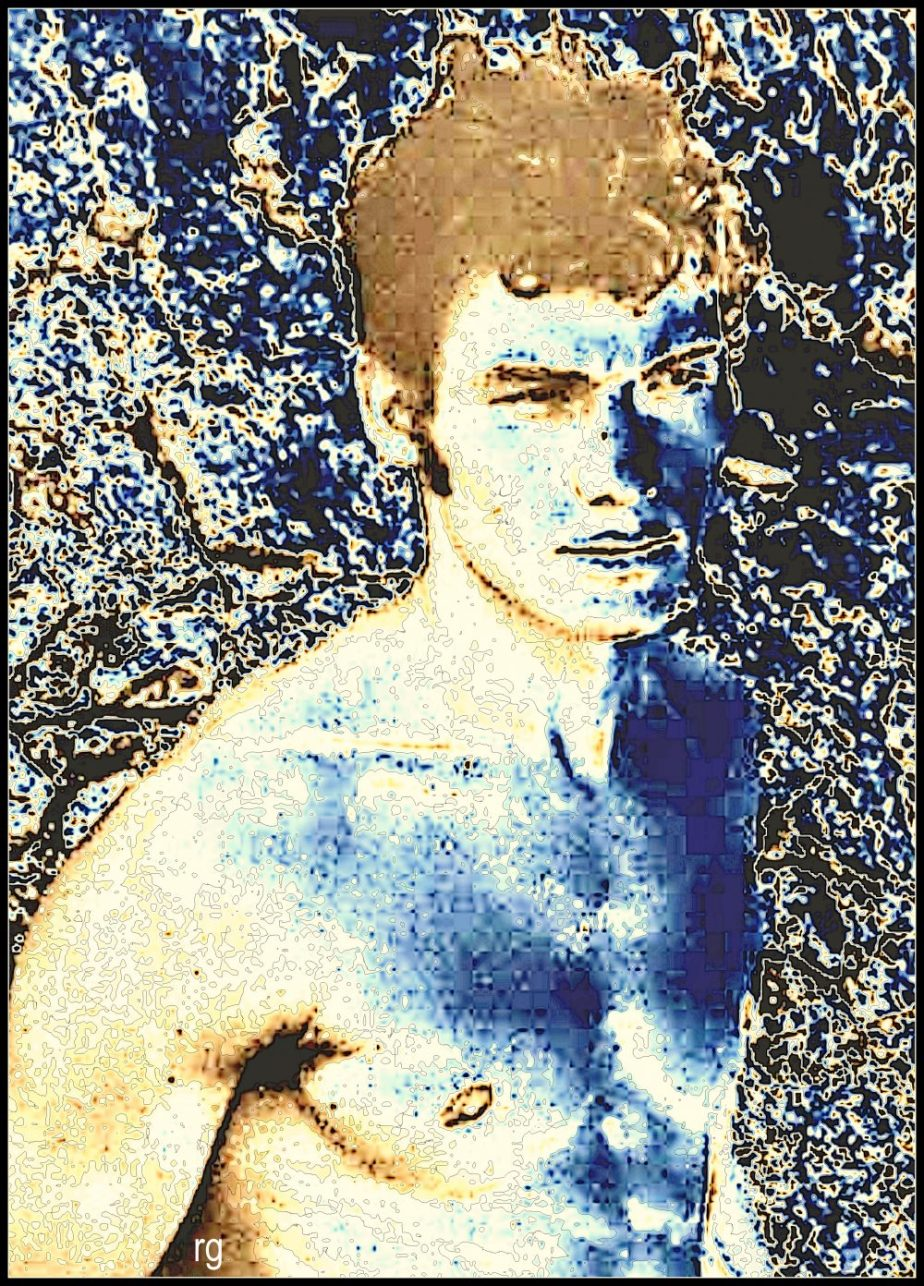 Abstract portrait of a young man baed on a photograph in the public domain