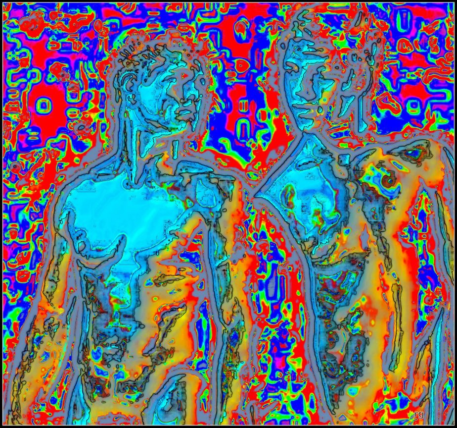 A Digital painting of two young men based on an image in the public domain