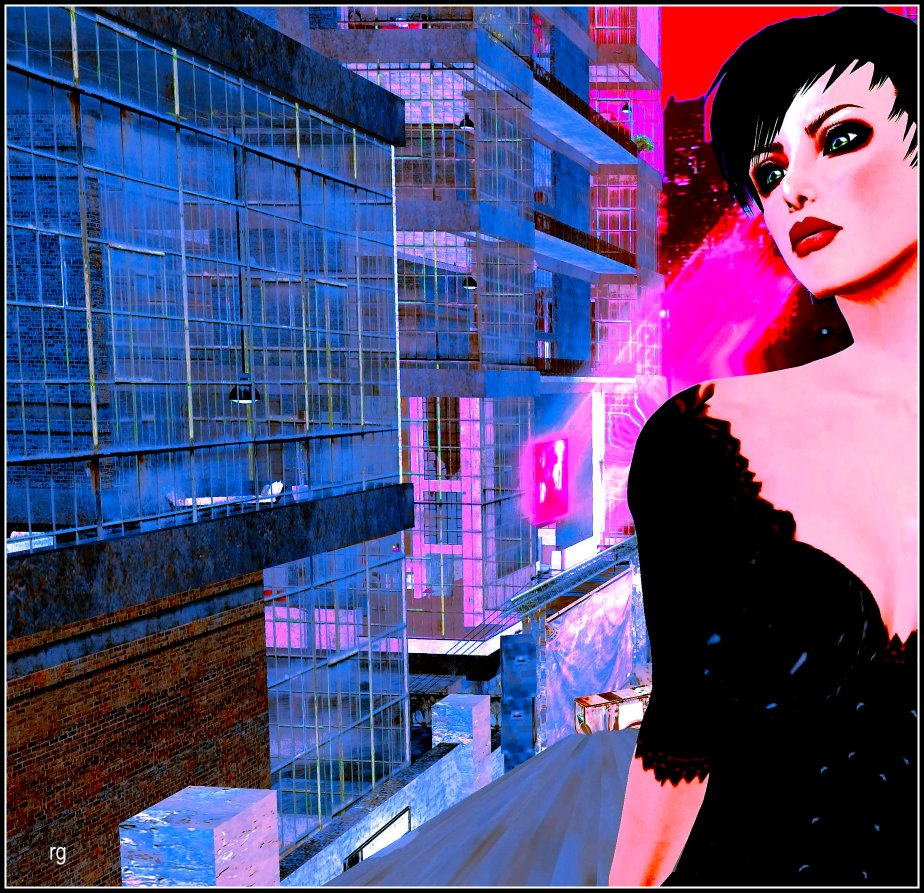 A digital photograph of an avatar that represents a young woman named Felique Dupré in a virtual Manhattan