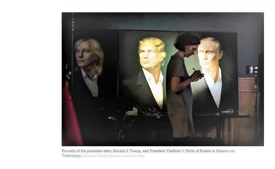 "A brightened screenshot of a November 9th NYT article about celebrations of Trump's win in Moscow. The brightened image reveals a triptych with ""Marine"" Le Pen as the third person"