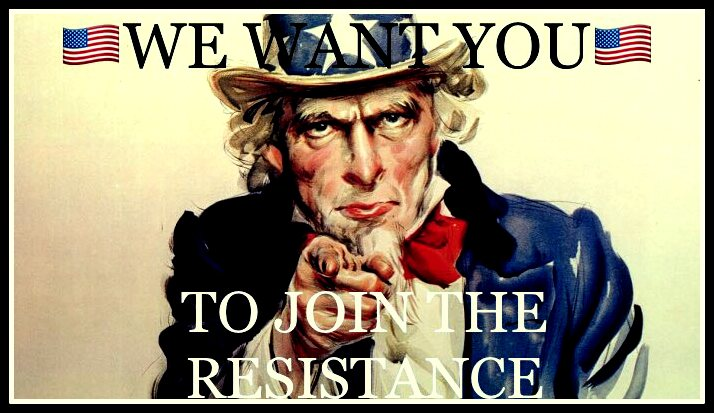 Meme of Uncle Sam saying We Want You to Join the Resistance found on Twitter