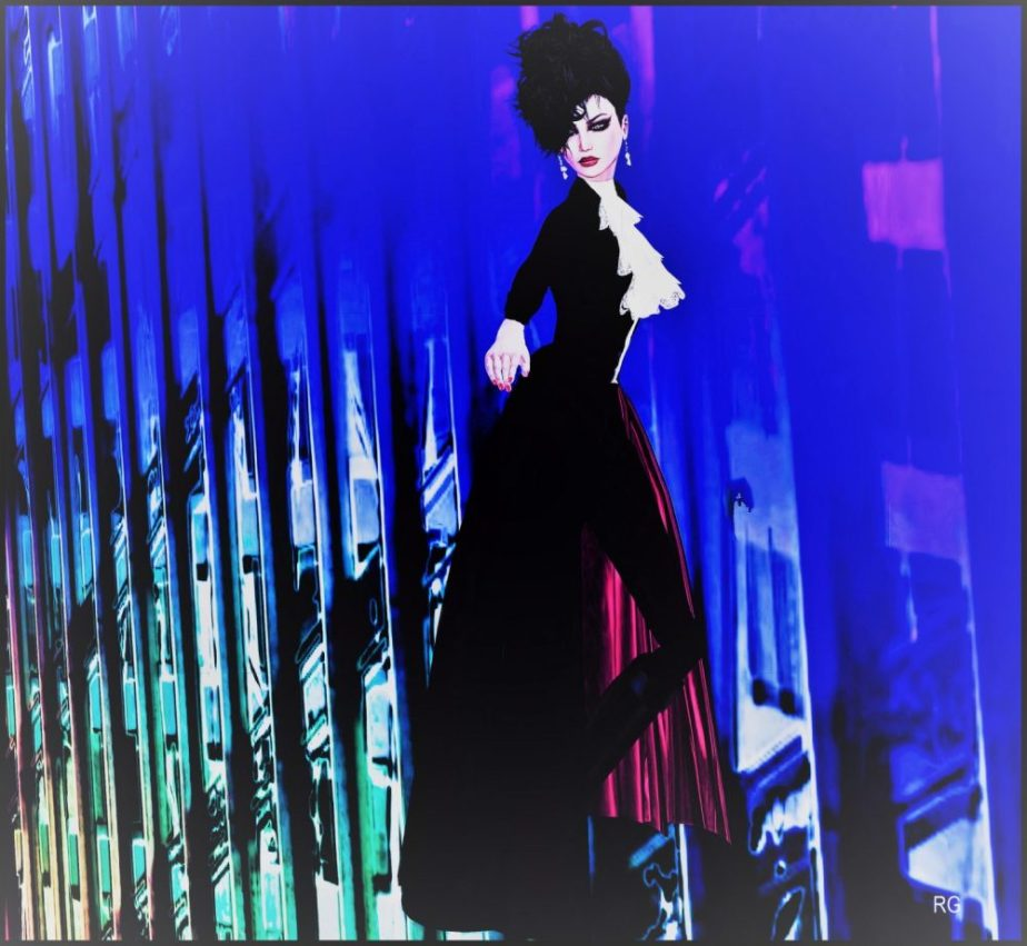 A digital painting based on an avatar in virtual reality of a young woman against an abstract urban landscape in a feminine tuxedo