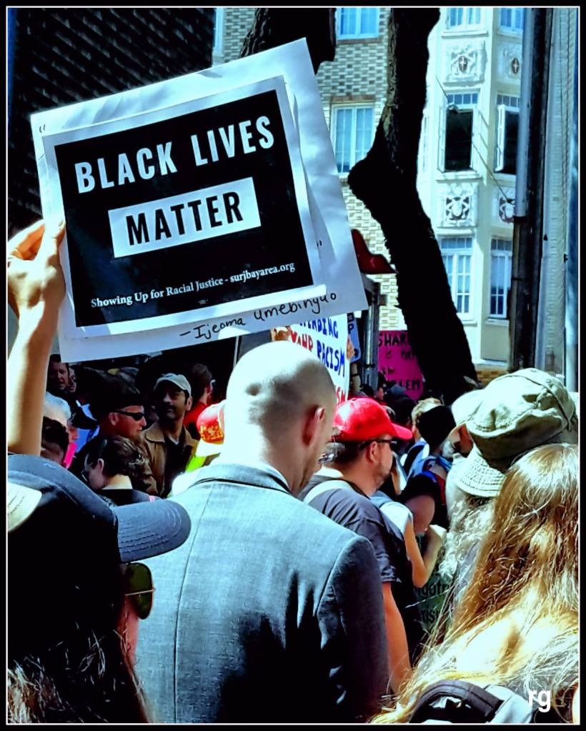 A photograph taken at today's Anti-Fascist rally at Alamo Square Park.