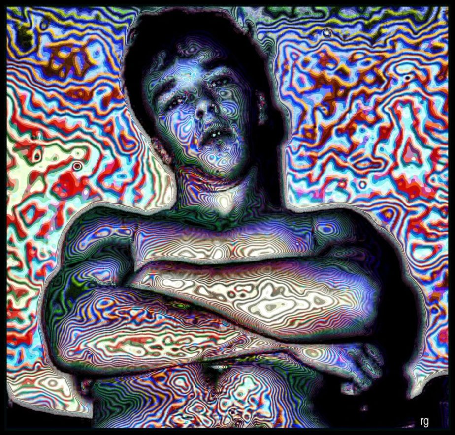 Digital spaainting based on a B&W photo of a young man