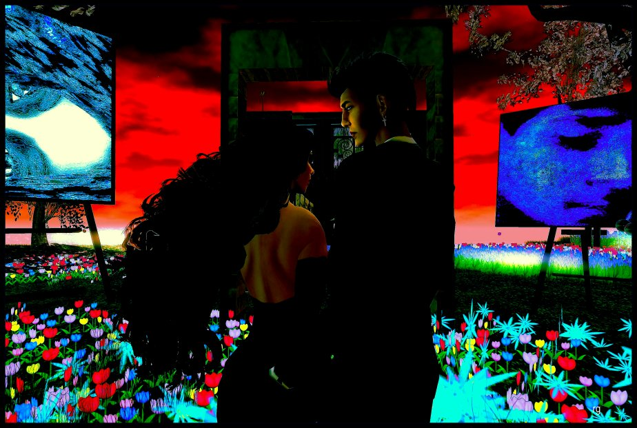Surrealist photograph of virtual reality avatars to represent Persephone and Lucifer entering the Garden