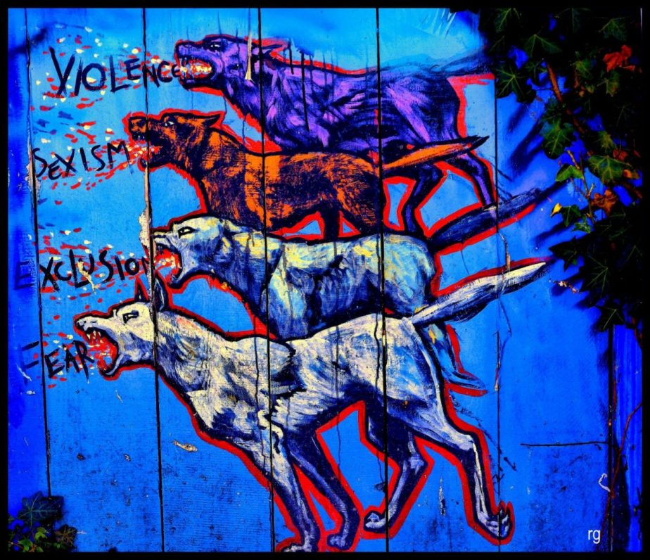 Image of a wall mural in clarion alley san francisco, the dogs are barking Violence, Sexism, Exclusion, Fear