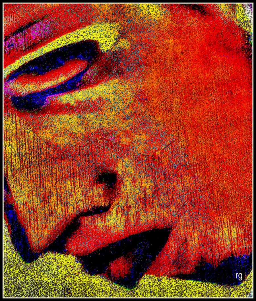 Digital painting of a grieving face based on a Blackberry Photo of a mural in the Mission District