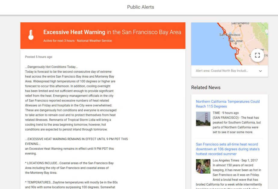 Screen shot of an excessive heat warning in San Francisco at 9 PM Saturday Night