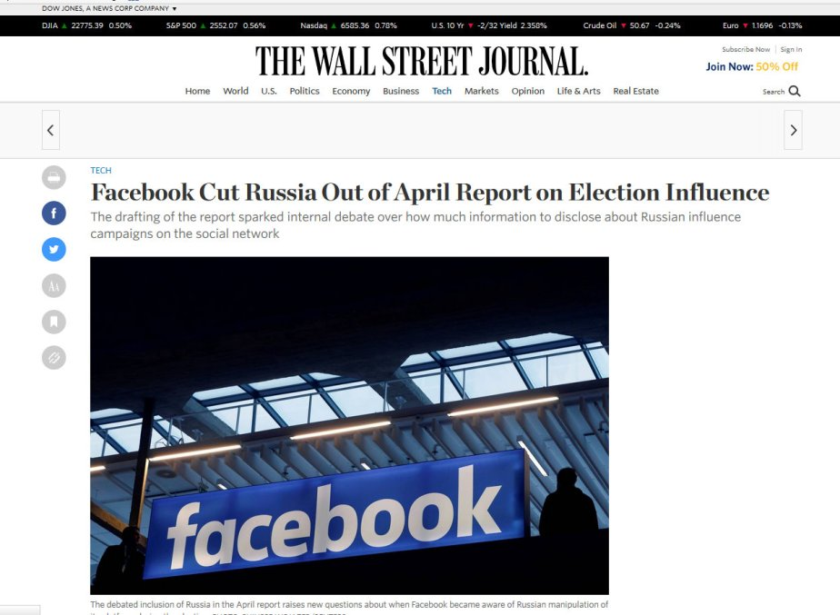 Screen shot of an October 5th Wall Street Journal report that Facebook cut references to Russia from an April report