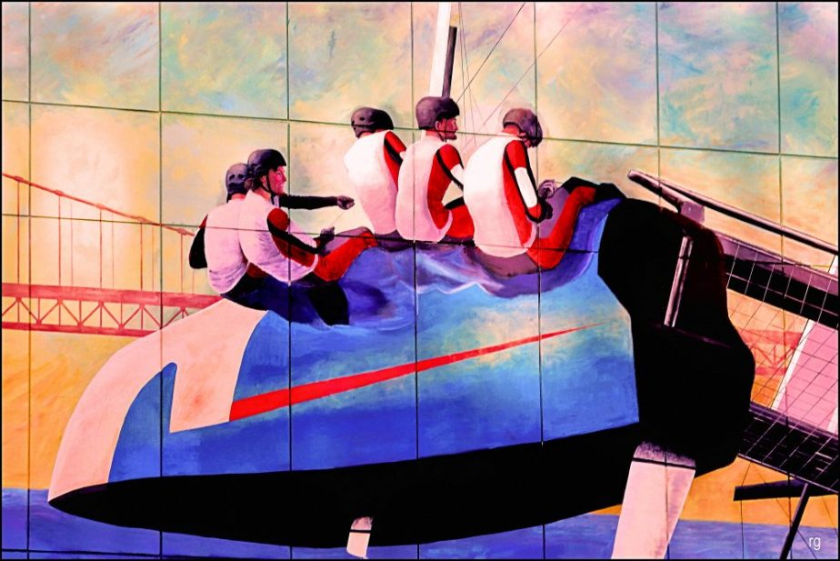 Detail of a Mural once on Duboce at Church Streets in San Francisco that showed people Kayaking in the waters near the Golden Gate Bridge