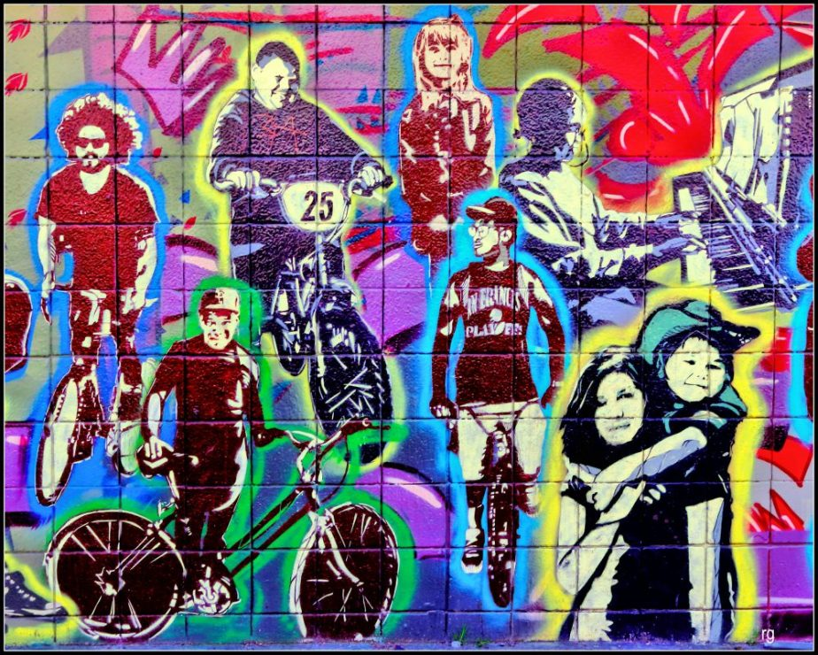Detail of a wall mural in San Francisco's Haight Street depicting people of all nationalities as members of our community