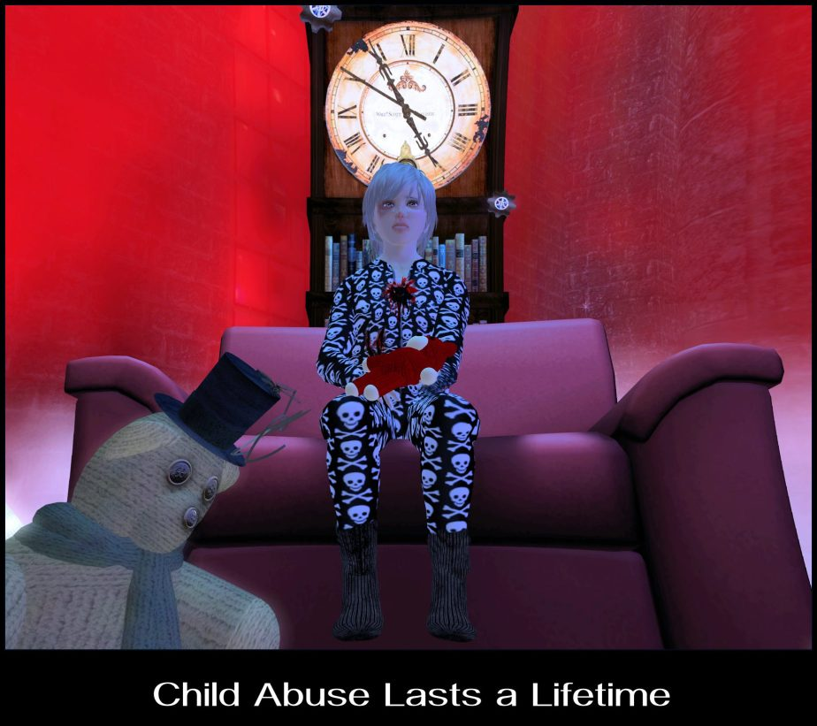Virtual Reality photograph of a child avatar sitting in an oversized chair with blood on his pajamas and a bruised eye with the caption Child Abuse Lasts Forever