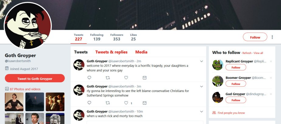 Screenshot of twitter troll account accusing liberals of politicizing the Sutherland Springs tragedy