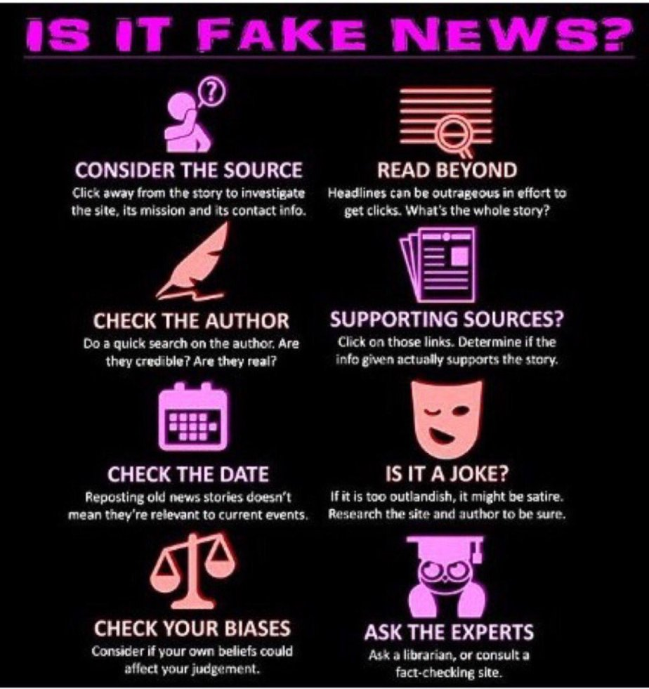 An  info graphic found on twitter that illustrates strategies for verifying the truthfulness of a news story