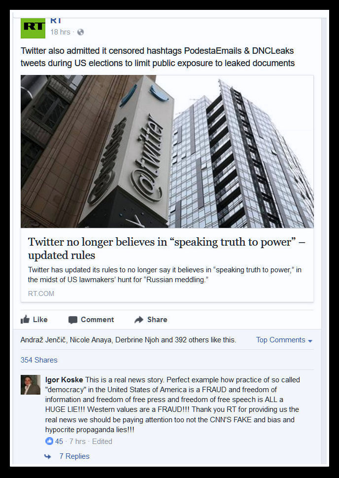 A Lie posted by Russia Today to its Facebook feed that reads Twitter admitted to censuring the Podesta and DNCLeaks hashtags during the 2016 election cycle.
