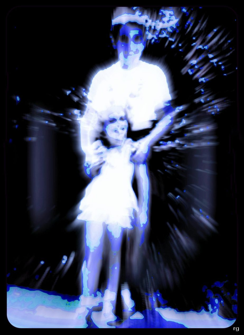 Digitally altered snapshot of a brother and sister as children. The snapshot is processed to create the effect of looking backwards though someone's eye