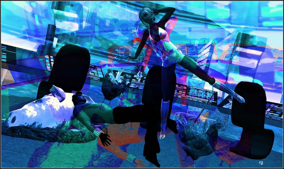 A virtual reality shot depicting Lisa and Oliver Douglas from Green Acres under attack on the Starship Enterprise by the Hank Kimballs