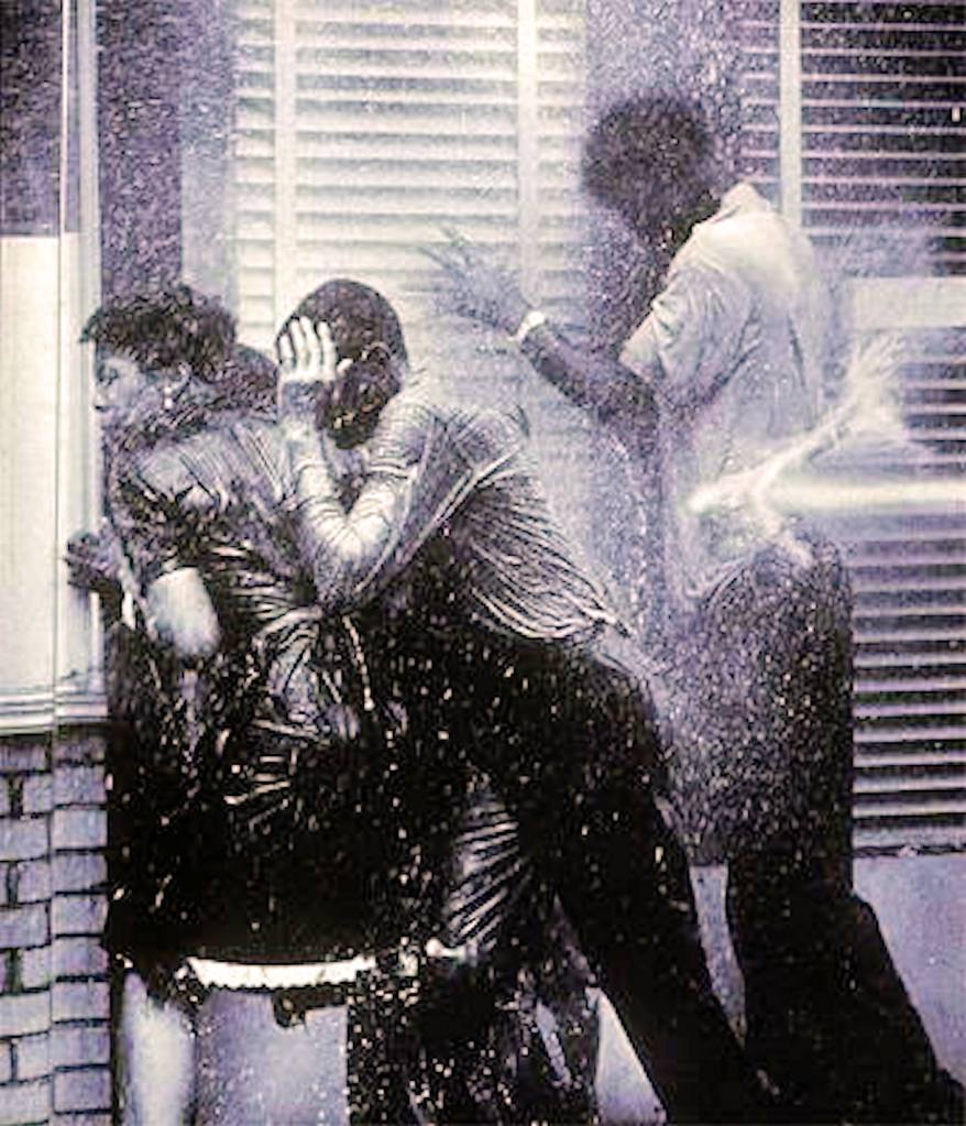 A shot of police turning firehoses on demonstrators in Birmingham Alabama in 1963