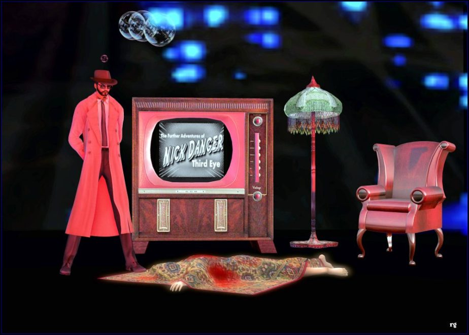 Digital Photograph of a detective looking down at a corpse under a blanket. Behind them is a television with a title screen that reads Nick Danger, Third Eye